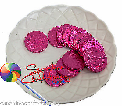 5 X Chocolate Pink Coins Bags - 75g - KIDS PARTY LOLLIES, Pirate Party Post Incl