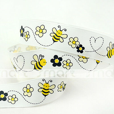 "7/8""22mm White Bees Cartoon Grosgrain Ribbon Craft 5 Yards Sewing Bow Packing"
