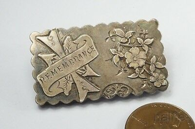 ANTIQUE ENGLISH VICTORIAN PERIOD STERLING SILVER REMEMBRANCE BROOCH c1887
