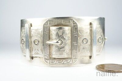 ANTIQUE ENGLISH VICTORIAN PERIOD SILVER BUCKLE BANGLE / BRACELET c1880's