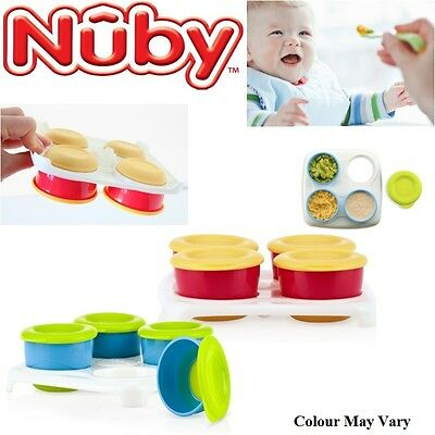 Nuby Garden Fresh Freezer Baby Food Storage Easy Seal Lid Cubes Tray 4 Pots