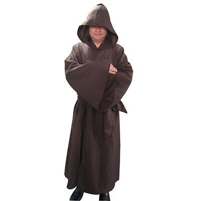 Robe & Hood Brown Fancy Dress Jedi Monk Reaper Wizard Halloween Adult One Size