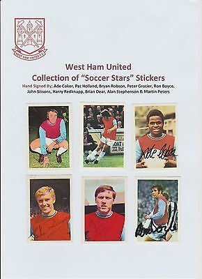 West Ham United Collection Of 25 X Soccer Stars Stickers With 11 X Hand Signed