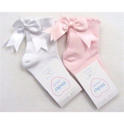 Beautiful Spanish Romany style Short Pink or White Bow Socks by Kinder *UK made*