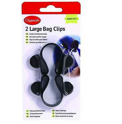 Brand new in pack Clippasafe large bag clips for pram puschair in black two pack
