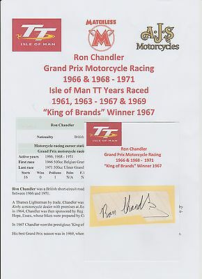 Ron Chandler Motorcycle Racer 1966-1971 Iomtt Original Signed Cutting/card