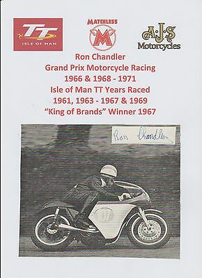 Ron Chandler Motorcycle Racer 1966-1971 Iomtt Original Signed Picture/ Cutting