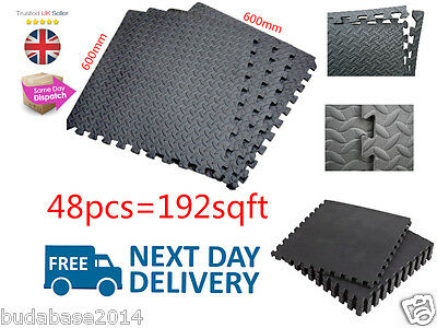 192 Sqft Black Interlocking Eva Foam Floor Mats Garage Gym Play Puzzle Exercise