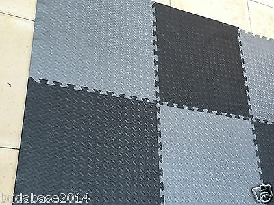 96 SQ FT INTERLOCKING EVA FOAM FLOOR MATS GARAGE GYM PLAY PUZZLE EXERCISE Grey