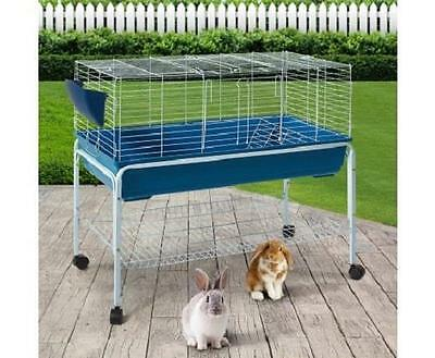 Pet Rabbit Guinea Pig Chicken Small Animal Metal Cage House Hutch Coop w/ Stand