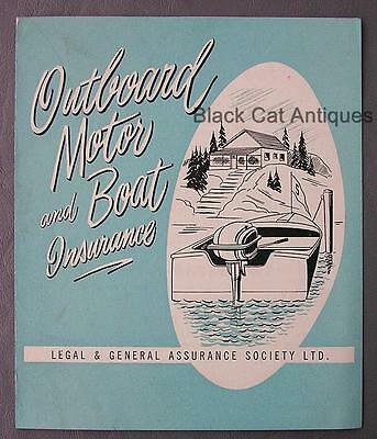 Original Vintage Outboard Motor & Boat Insurance Application Booklet w/Prices