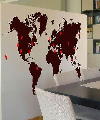 Stickerbrand World Map Vinyl Wall Decal with Location Pin Drops #873
