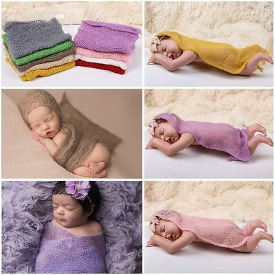 Newborn Baby Photography Stretch Costume Wrap Photo Prop Crochet Blanket Rug