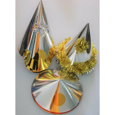 Party Hats Assorted Shaped Foil Gold Silver or Red Christmas Party Pack of 50