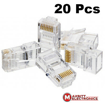 20 x RJ45 Cat5e Ethernet Network LAN Cable Lead Crimp End Plug Connector