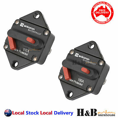 2x100A AMP Marine Circuit Breaker IP67 Waterproof 12V24V Panel Mount Reset C0122