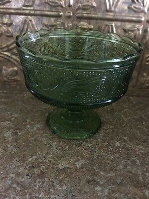 E.O. Brody CO. Green Glass Candy, Fruit, Decorative Vintage Pedestal Bowl. M6OOO