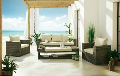 5tlg garten ecksofa lounge mit tisch polster sitzgruppe rattanm bel braun eur 349 75. Black Bedroom Furniture Sets. Home Design Ideas