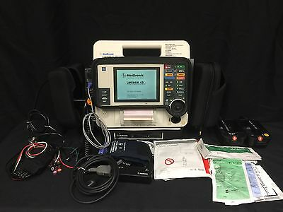 Lifepak 12 Biphasic 12 lead LOADED Spo2 NIBP Etco2 CO2 Pacing W/Paddles &Adapter