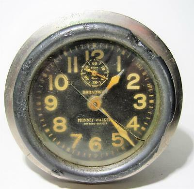 Vtg 1900's Broadway - Phinney Walker Rim Wind Car Clock Keyless 8 Day (Works)