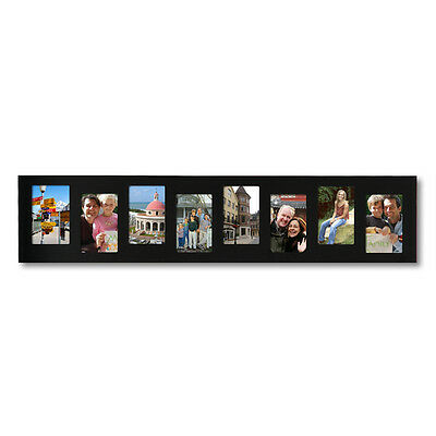 """8-Opening Decorative Black Wood Offset Collage Wall Hanging Photo Frame, 4x6"""""""