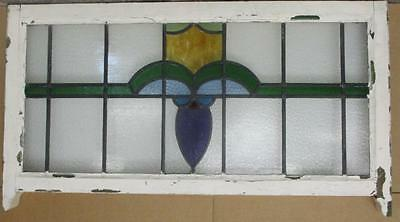 "EDWARDIAN ENGLISH LEADED STAINED GLASS  SASH WINDOW Abstract 40.75"" x 20.5"""