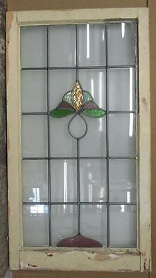 "LARGE OLD ENGLISH LEADED STAINED GLASS WINDOW Pretty Floral design 20.5"" x 37.5"""