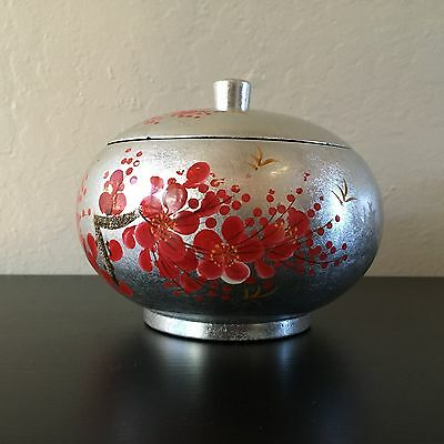 Japanese Silver Blossom Lacquer Ware Stacking Storage Container Trinket Box orb