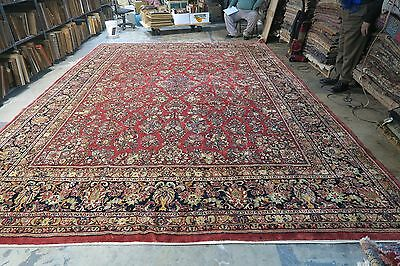 Antique Persian Ghiasabad Sarouk Rug 12'4 x17'3  Finely Hand Knotted Wool Pile