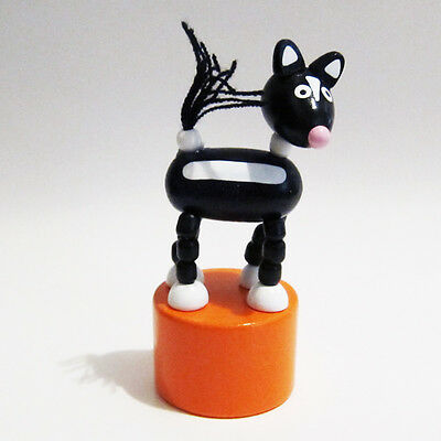 Classic Wooden Toy Push Puppet WOODLAND SKUNK Yarn Tail Forest Wildlife Stink