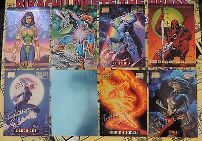 8 x Marvel Masterpiece Cards inc rare Wolverine H-3 Cerebra S2 Silver Surfer 2-D