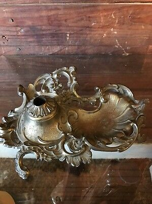 Vintage Decorative Footed Brass Inkwell Ornate Metal Design Floral