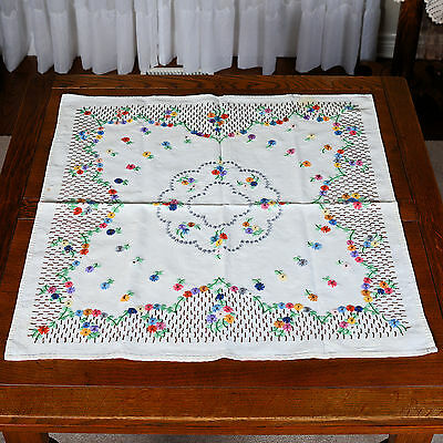 "Vintage Embroidery Square Table Cloth # 3 - Approx. 28"" X 26"""