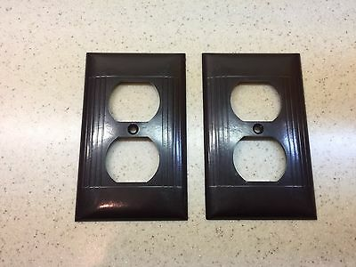 2 Vintage Sierra Brown BAKELITE  Ribbed Outlet Plates  Covers USA