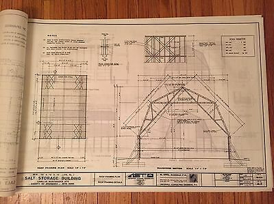 Set Of 11 Architectural Blueprints Salt Storage Building  Industry Construction