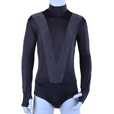 Mens Spandex Long Sleeve Latin Dance Turtle Neck Shirt Bodysuit Tee Dancewear