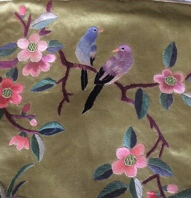 Asian Silk Embroidery Vintage Tapestry Wall Hanging Birds China Embroidered