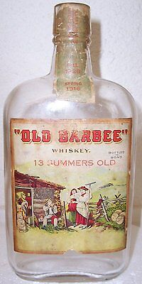 Antique folk label  Barbee Whiskey T. Barbee & Co., Pre-prohibition Bottle 1916