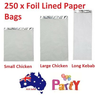 250 Pc Foil Lined Paper Bags Small Large Long Kebab Chicken Take Away Chips Bulk