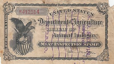 USA Department of Agriculture Meat Inspection Stamp A.D Melvin Chicago, eagle