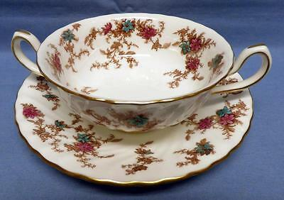 Minton ANCESTRAL Pattern-S-376 Footed CREAM SOUP BOWL &SAUCER Enameled Flowers