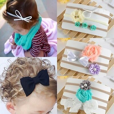 3Pcs Baby Newborn Toddler Girl Flower Nylon Hairband Headband Hair Accessory