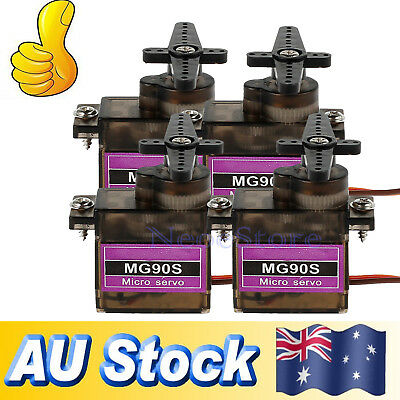 4x MG90S Micro Servo Metal Gear High Speed For RC Helicopter Car Boat Futaba New