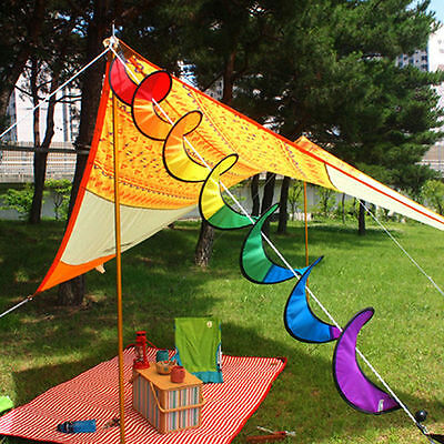 New Foldable Camping Tent Rainbow Spiral Windmill Wind Spinner Home Garden Decor