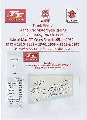 Frank Perris Motorcycle Racer 1960-1971 Iomtt Rare Original Signed Cutting/card