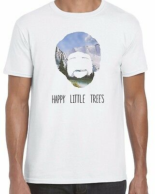 Happy Little Trees Bob Ross Art Inspired Funny Unisex T Shirt Top Tee