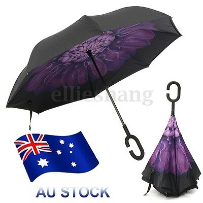 Windproof Double Layer Inverted Upside Down Inside Umbrella Reverse C-Handle AU