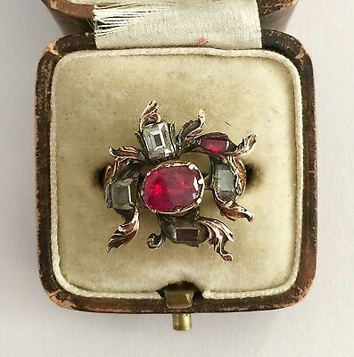 A Stunning Ruby & Table Cut Diamond Flower Head Ring Circa 1760's