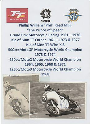 Phil Read Motorcycle Racer 1961-76 World Champ Iomtt Orig Signed Photo/postcard