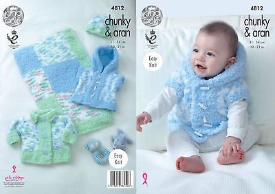 Easy Knit Baby Knitting Pattern Jacket Gilet Hat & Blanket King Cole Chunky 4812